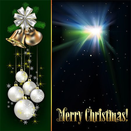 Christmas background with white decorations on green Stock Photo - Budget Royalty-Free & Subscription, Code: 400-07033607
