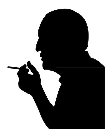 Silhouette of a man head, smoking man Stock Photo - Budget Royalty-Free & Subscription, Code: 400-07033788