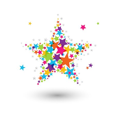 A big star composed of many small colorful star Stock Photo - Budget Royalty-Free & Subscription, Code: 400-07033886