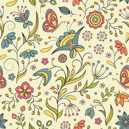 Vector illustration of seamless pattern with abstract flowers.Floral background Stock Photo - Budget Royalty-Free & Subscription, Code: 400-07033902