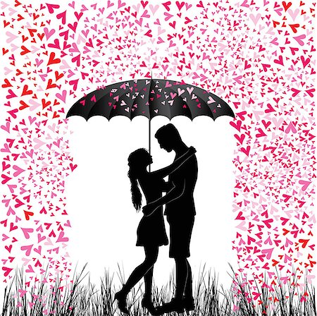 svetap (artist) - Kissing couple heart rain. Man and woman in love. Valentine day background. Young people under umbrella. Isolated on white. Stock Photo - Budget Royalty-Free & Subscription, Code: 400-07044757