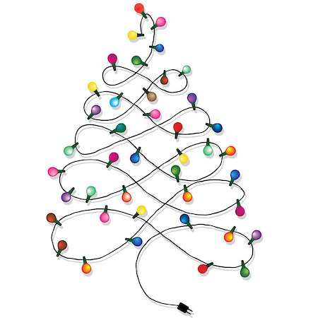 svetap (artist) - Christmas tree garland lights string of Christmas vector background isolated on white Stock Photo - Budget Royalty-Free & Subscription, Code: 400-07044761
