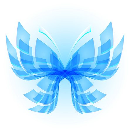 Blue Butterfly. Abstract Illustration on white background Stock Photo - Budget Royalty-Free & Subscription, Code: 400-07044889