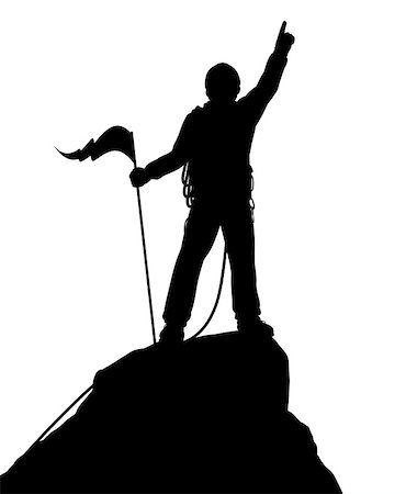 Editable vector silhouette of a successful climber on a mountain summit Stock Photo - Budget Royalty-Free & Subscription, Code: 400-07046021