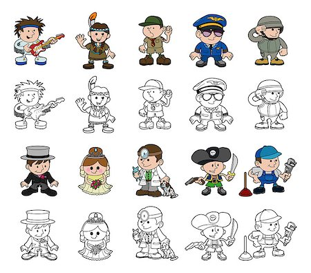 A set of cartoon people or children playing dress up. Includes color and black and white outline versions. Stock Photo - Budget Royalty-Free & Subscription, Code: 400-07046903