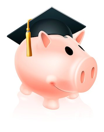 education loan - Piggy bank wearing an academic mortar board hat, concept for saving for an education Stock Photo - Budget Royalty-Free & Subscription, Code: 400-07047454