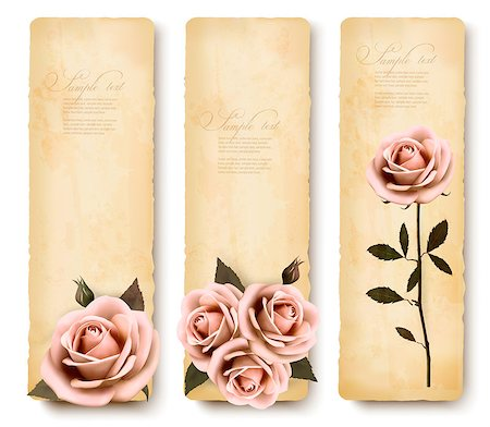 Three retro holiday banners with pink roses. Vector Stock Photo - Budget Royalty-Free & Subscription, Code: 400-07048535