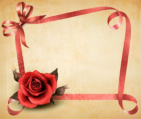Retro holiday background with red rose and ribbons. Vector illustration. Stock Photo - Budget Royalty-Free & Subscription, Code: 400-07048545