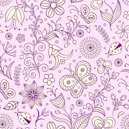 drawn curved - Vector illustration of seamless pattern with abstract flowers.Floral background Stock Photo - Budget Royalty-Free & Subscription, Code: 400-07049684