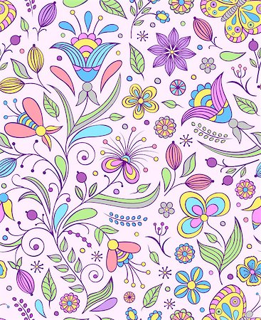 drawn curved - Vector illustration of seamless pattern with abstract flowers.Floral background Stock Photo - Budget Royalty-Free & Subscription, Code: 400-07049687