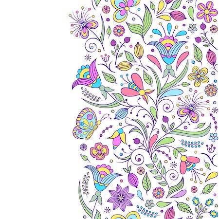 drawn curved - Vector illustration of seamless pattern with abstract flowers.Floral background Stock Photo - Budget Royalty-Free & Subscription, Code: 400-07049688
