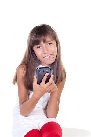 little girl with smartphone with tongue out isolated on white Stock Photo - Budget Royalty-Free & Subscription, Code: 400-07040619