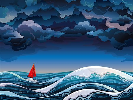 sailing boat storm - Night seascape with red sailboat and stormy sky Stock Photo - Budget Royalty-Free & Subscription, Code: 400-07041233