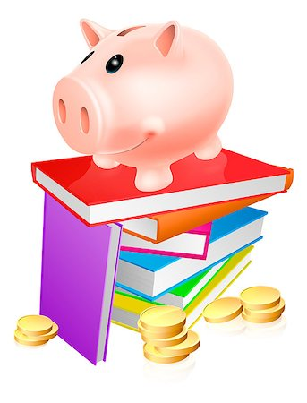 education loan - A piggy bank standing on a stack of books and surrounded by coins. Concept for eduction savings or other literacy related budget theme Stock Photo - Budget Royalty-Free & Subscription, Code: 400-07043449