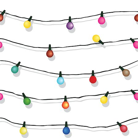 svetap (artist) - Seamless string of Christmas lights on garland vector background  isolated on white Stock Photo - Budget Royalty-Free & Subscription, Code: 400-07043672