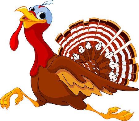 Cartoon turkey running, isolated on white background Stock Photo - Budget Royalty-Free & Subscription, Code: 400-07054313