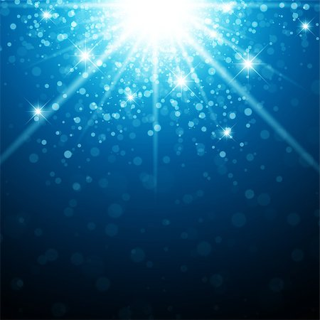Abstract Holiday Background With Christmas Star Light in Blue Stock Photo - Budget Royalty-Free & Subscription, Code: 400-07055119