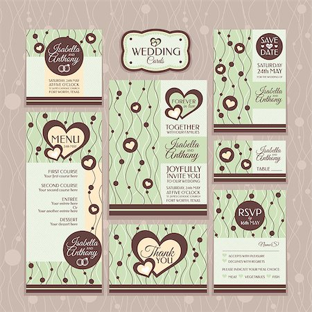 elegant wedding floral graphic - Set of wedding cards. Wedding invitations, Thank you card, Save the date card, Table card, RSVP card and Menu. Stock Photo - Budget Royalty-Free & Subscription, Code: 400-07055238