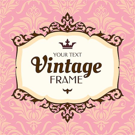 Vintage floral frame. Great for greeting and invitation card. Stock Photo - Budget Royalty-Free & Subscription, Code: 400-07055317
