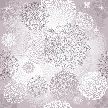 Seamless gentle christmas pattern with white and silver balls and snowflakes (vector EPS 10) Stock Photo - Budget Royalty-Free & Subscription, Code: 400-07055376