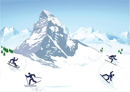 winter sports in the mountains Stock Photo - Budget Royalty-Free & Subscription, Code: 400-07055837