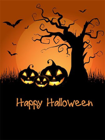 Spooky Halloween background with scary tree and pumpkins Stock Photo - Budget Royalty-Free & Subscription, Code: 400-07056003