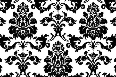 Vector. Seamless damask pattern. Fabric swatch. Black and white. Stock Photo - Budget Royalty-Free & Subscription, Code: 400-07056149