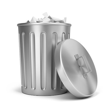 steel trash can. 3d image. Isolated white background. Stock Photo - Budget Royalty-Free & Subscription, Code: 400-07056771