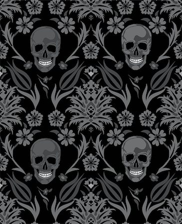 svetap (artist) - Seamless flower skull vector object scull illustration. People bone design on black background. Halloween symbol. Stock Photo - Budget Royalty-Free & Subscription, Code: 400-07056826