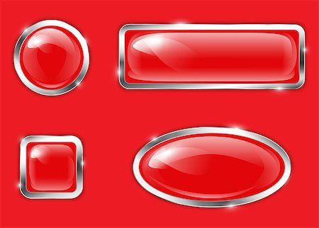 Red glossy metallic buttons. Vector illustration Stock Photo - Budget Royalty-Free & Subscription, Code: 400-07056851