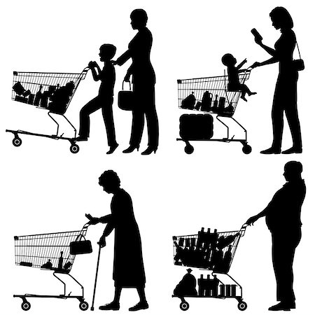 Editable vector silhouettes of people and their supermarket shopping trolleys with all elements as separate objects Stock Photo - Budget Royalty-Free & Subscription, Code: 400-07050051