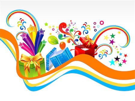 fun happy colorful background images - abstract gift wave background vector illustration Stock Photo - Budget Royalty-Free & Subscription, Code: 400-07052173