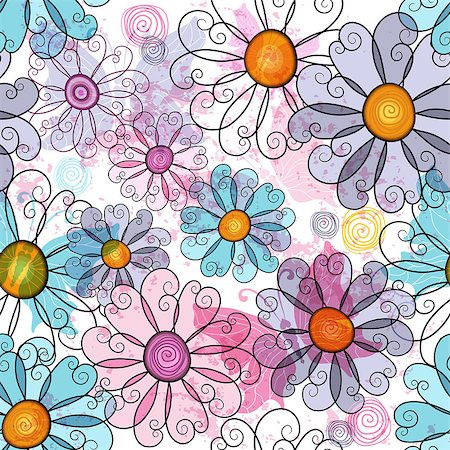 Seamless spring grunge spotty floral pattern with colorful flowers and  transparent butterflies (vector EPS 10) Stock Photo - Budget Royalty-Free & Subscription, Code: 400-07052828