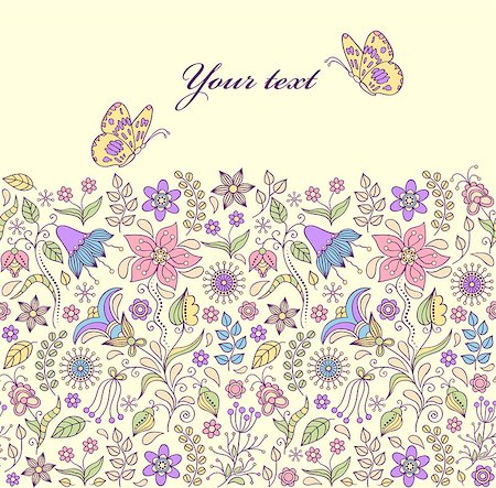 Vector illustration of pattern with abstract flowers and butterflies.Floral background Stock Photo - Budget Royalty-Free & Subscription, Code: 400-07053055