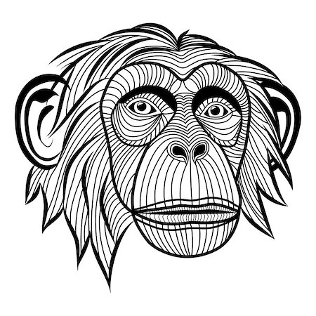 svetap (artist) - Monkey chimpanzee ape head animal, simian symbol for mascot or emblem design, logo vector illustration for t-shirt. Sketch tattoo design. Stock Photo - Budget Royalty-Free & Subscription, Code: 400-07053384