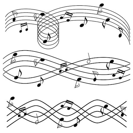 swirl graphic score - Various music notes on stave Stock Photo - Budget Royalty-Free & Subscription, Code: 400-07053421