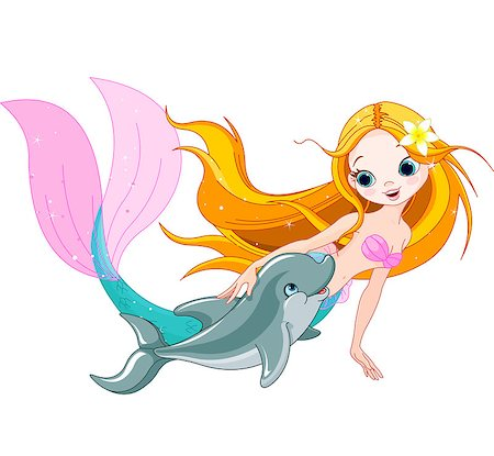 Illustration of cute mermaid swimming with dolphin Stock Photo - Budget Royalty-Free & Subscription, Code: 400-07053573