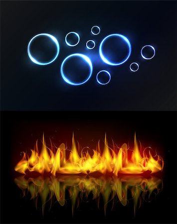 Aqua and fire. Water drops or bubbles and fire flame background with reflection. Stock Photo - Budget Royalty-Free & Subscription, Code: 400-07053697