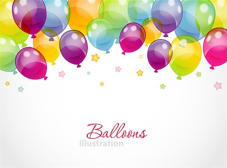 Vector illustration of Background with colorful balloons Stock Photo - Budget Royalty-Free & Subscription, Code: 400-07053713