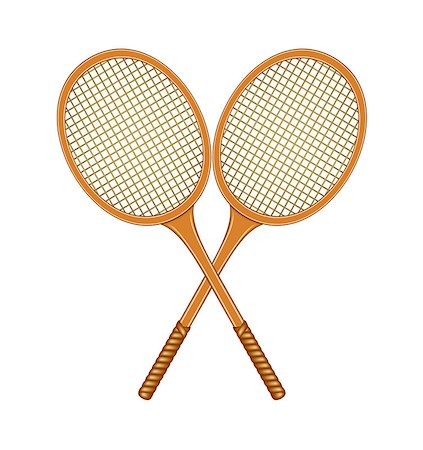 Two crossed tennis rackets in vintage design on white background Stock Photo - Budget Royalty-Free & Subscription, Code: 400-07060938