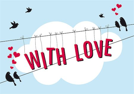 fly heart - love birds sitting on wire in blue sky, vector background illustration Stock Photo - Budget Royalty-Free & Subscription, Code: 400-07061349