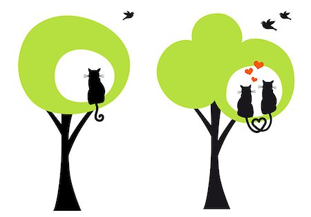 simsearch:400-04399778,k - green trees with cats and birds, vector illustration Stock Photo - Budget Royalty-Free & Subscription, Code: 400-07061350