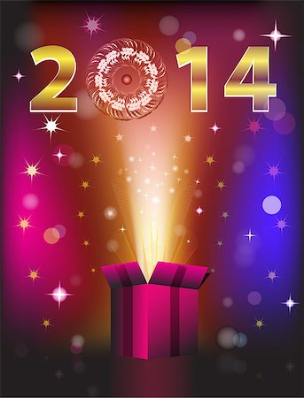fun happy colorful background images - Magical colorful gift card for 2014 New Year. Vector illustration Stock Photo - Budget Royalty-Free & Subscription, Code: 400-07061423