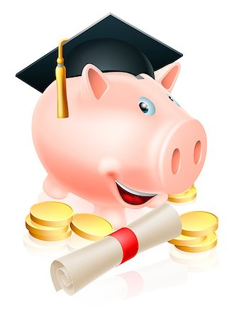 education loan - Happy piggy bank cartoon with graduation cap and diploma scroll with gold coins. Saving for a career or education. Stock Photo - Budget Royalty-Free & Subscription, Code: 400-07061830