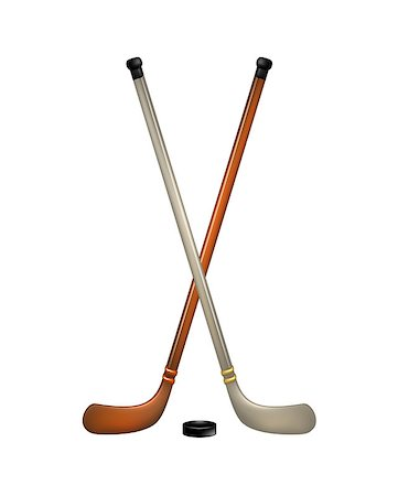Two crossed ice hockey sticks and puck on white background Stock Photo - Budget Royalty-Free & Subscription, Code: 400-07062231