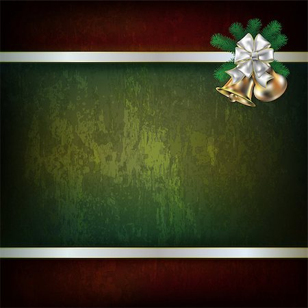 Abstract grunge green background with Christmas bells and white ribbon Stock Photo - Budget Royalty-Free & Subscription, Code: 400-07062351
