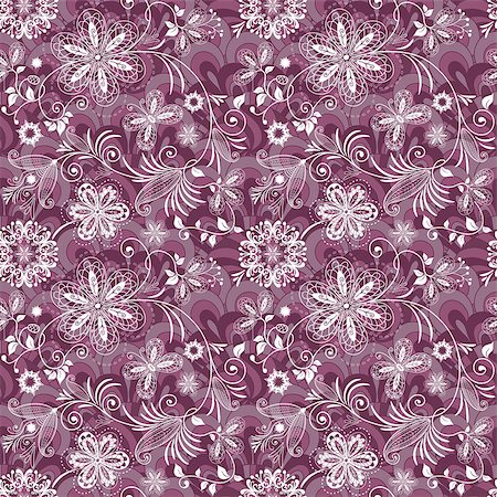 pink and purple fireworks - Seamless purple-white vintage pattern with flowers and butterflies (vector EPS 10) Stock Photo - Budget Royalty-Free & Subscription, Code: 400-07062428