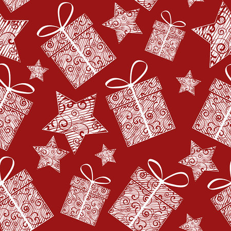 Christmas seamless patterns of Christmas decorations Stock Photo - Budget Royalty-Free & Subscription, Code: 400-07062457