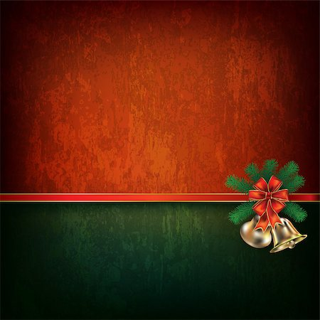 Abstract grunge red background with Christmas bells and red ribbon Stock Photo - Budget Royalty-Free & Subscription, Code: 400-07062451