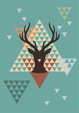 Christmas deer with abstract geometric pattern, vector background Stock Photo - Budget Royalty-Free & Subscription, Code: 400-07062533